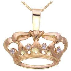 Vintage 14k Diamond Crown Pendant
