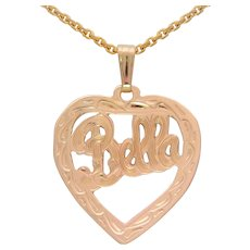 "Vintage 14k Gold Heart Themed ""Bella"" Pendant Necklace"