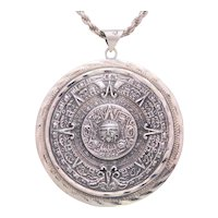 Vintage Sterling Silver Hand Crafted Mayan Calendar Pendant