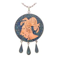 Vintage Sterling Silver Hand Crafted Mosaic Mayan Reversable Pendant