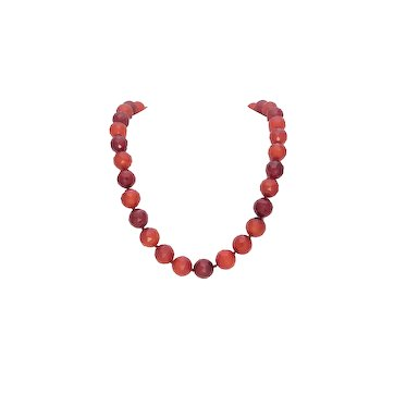 Vintage 16mm Red Carnelian Beaded Necklace with 18k Gold Diamond Clasp