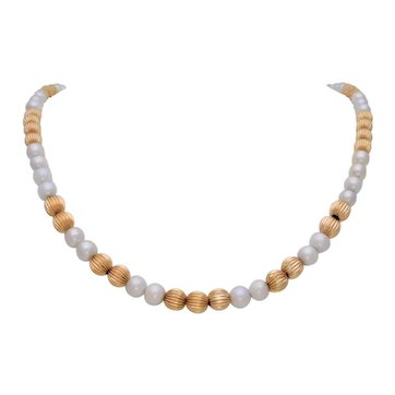 Mid Century Graduating 14k Gold Bead and White Pearl Necklace