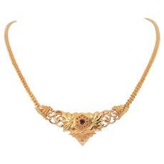 Vintage 21k Gold Blood Ruby Pendant Necklace