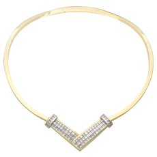 Vintage Italian Crafted 18k Gold and Princess Cut Diamond Omega Necklace