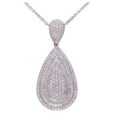 Custom 6.85ct Natural Diamond Tear Drop Cluster Pendant