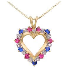 Vintage 10k Gold Diamond, Sapphire, and Ruby Heart Shaped Pendant