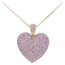 Vintage 10k Gold 1ct Total Diamond Heart Shaped Pendant