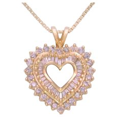 Vintage 10k Gold Natural Round and Baguette Diamond Heart Shaped Pendant