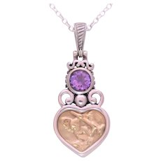 Italian Crafted Vintage 14k Gold, Sterling Silver, and Amethyst Heart Shaped Pendant