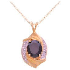 Vintage 10k Gold Oval Garnet and Diamond Pendant