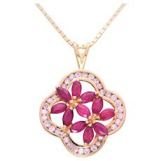 Vintage 14k Gold Marquise Ruby and Diamond Pendant