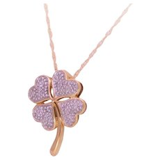 Vintage 10k Gold and Diamond Four Leaf Clover Pendant Necklace