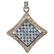Estate Ladies 14 Karat White Gold Teal and White Diamond Pendant Necklace