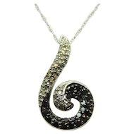 "Estate Ladies 10 Karat White Gold Black and White Diamond ""S"" Shaped Pendant and Necklace"
