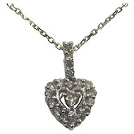 Ladies Necklace- 10 Karat White Gold Pendant Diamond Heart and 14 karat wheat Chain