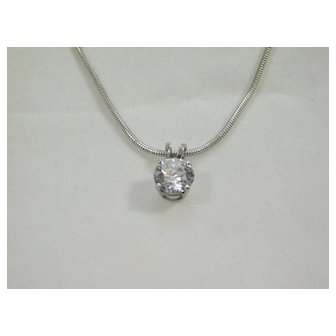 Ladies 14 karat White Gold 1.05ct Diamond Necklace Pendant.