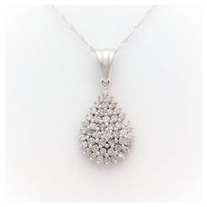 14k White Gold Diamond Teardrop Cluster Pendant