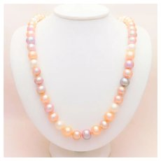 Opera Length Mixed Colored 12mm Pearl Necklace with 14k White Gold Clasp
