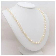Vintage Opera Length 7mm Pearl Necklace with 14k Yellow Gold Clasp
