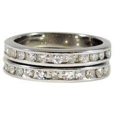 14k White Gold and Diamond Wedding/Anniversary Band Set