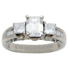 1.70ct Emerald-Cut Diamond Three Stone 14k White Gold Engagement Ring