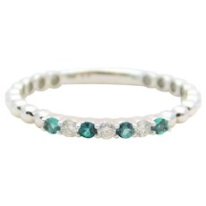 White Gold Natural Diamond and Emerald Stackable Band