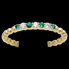 Yellow Gold Natural Diamond and Emerald Stackable Band