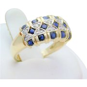 Vintage 14k Gold 1.30ct Diamond and Blue Sapphire Cocktail Ring