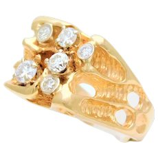 Gents 14 Karat Yellow Gold Nugget Ring with Diamonds
