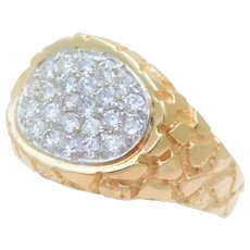 Vintage 14k Gold Nugget 1ct Diamond Ring