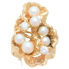 "Handmade 14 Karat Diamond and Pearl ""Oyster"" Ring"