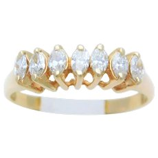 Vintage 14k Gold 7 Marquise Diamond Ring