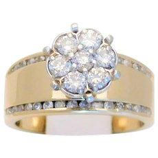 Vintage 14k Gold 1ct Diamond Cocktail Ring