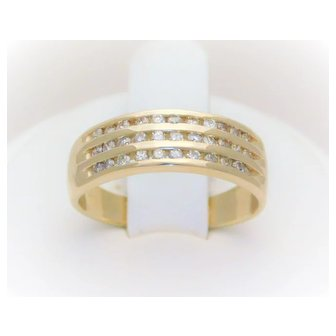 Vintage 14k Gold 3-Tiered Diamond Ring