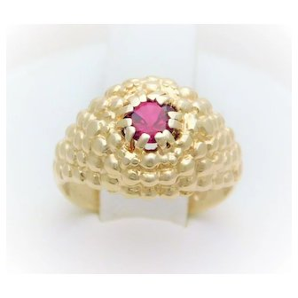 Vintage 14k Gold Handmade Dome Ring with Dark Pink Ruby