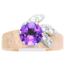 Mid Century 14k Amethyst and Diamond Cocktail Ring with a Florentine Finish