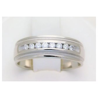 14k White Gold 8mm Channel-Set Diamond Wedding Band