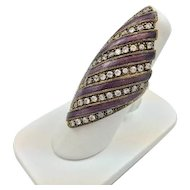 Ladies Sterling Silver Marquis Shaped Ring w/ Purple Stripes