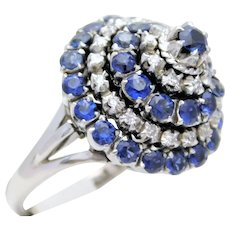 Midcentury Diamond and Sapphire Spinning Dome Ring, circa 1943