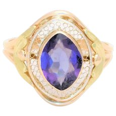 Antique 10k Gold Ring with Marquise-cut Amethyst