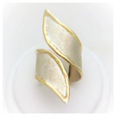 Hand Crafted 950 Silver and 24k Gold Adjustable Wrap Around Ring