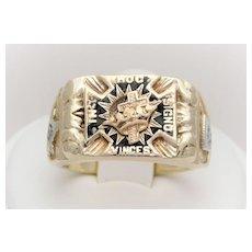 "Vintage 14 Karat Gold Masonic ""Spinner"" Ring"