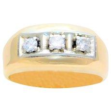 Vintage 14 Karat Gold Gentleman's Three-Stone Diamond Ring