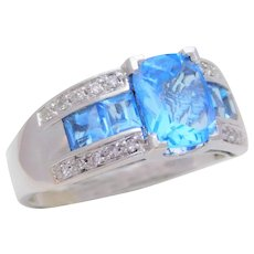 Ladies' 14k White Gold 3.50ct Swiss Blue Topaz and Diamond Cocktail Ring