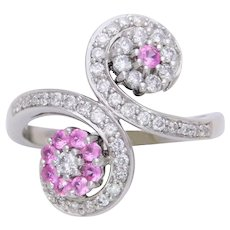 Vintage 14k White Gold Diamond and Pink Sapphire Spiral Cocktail Ring