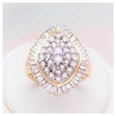 Vintage 1.80ct Diamond Cluster Ring