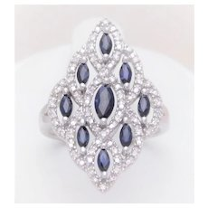 Vintage Sapphire and Diamond Cocktail Cluster Ring