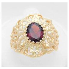 Vintage 14k Gold 3ct Oval Faceted Garnet Ring