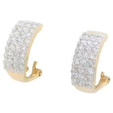"""Vintage 14k Gold 1/2 Carat Diamond """"Huggie"""" Earrings"""