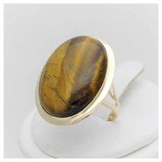 Vintage Tigers Eye Cocktail Ring